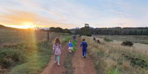 Family sunset walk Gloria Farm