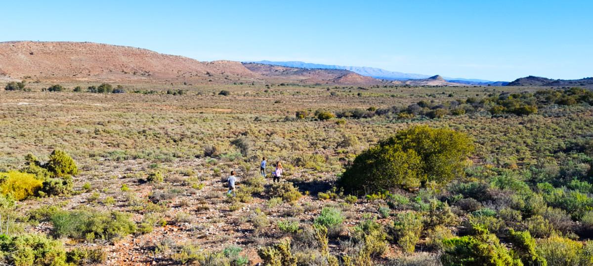 Kids running in open Klein Karoo landscape at Sangwe Cottage Touwsberg