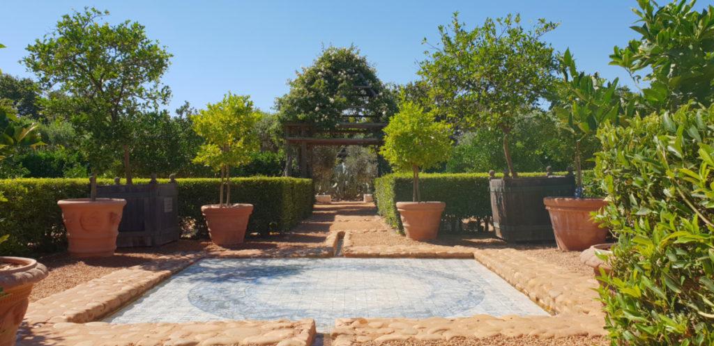 Citrus Block At Babylonstoren With Pond And Afrikaans Poem
