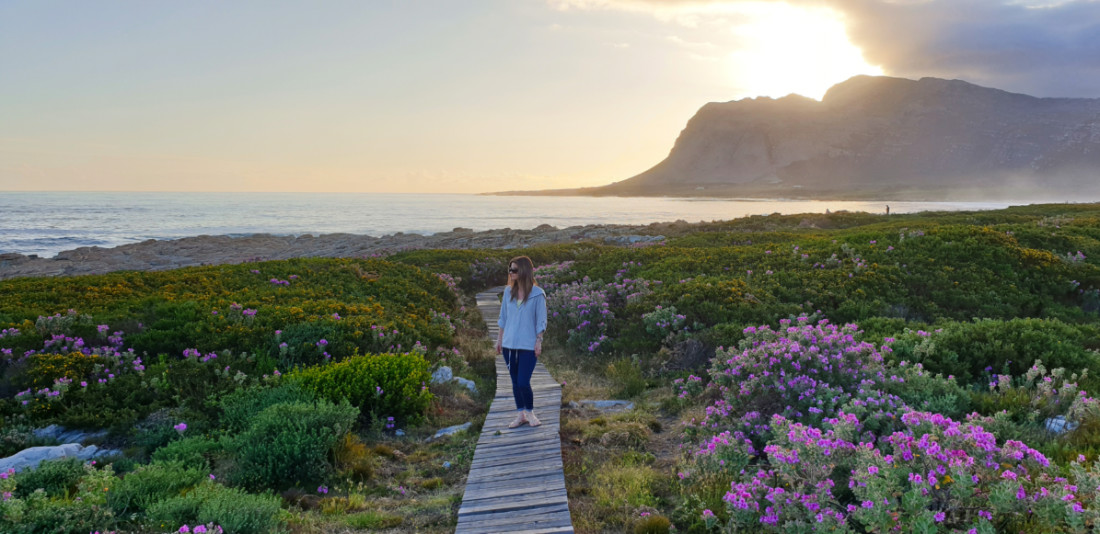 Julie Gluck on boardwalk in Kleinmond between the fynbos overlooking the sea