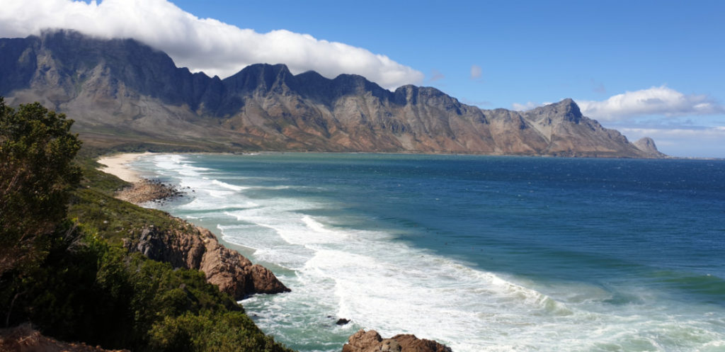 Sea and mountain view along the R44 Clarence Drive in the Western Cape
