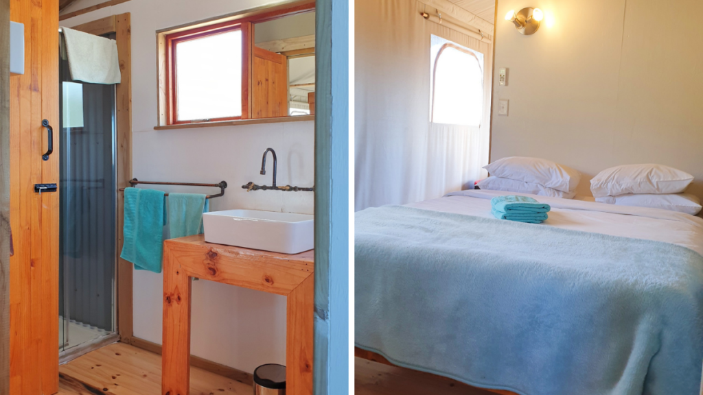 Inside AfriCamps tent. Left picture shows partial view of shower and basin/ Left picture shows view of room with queen bed.