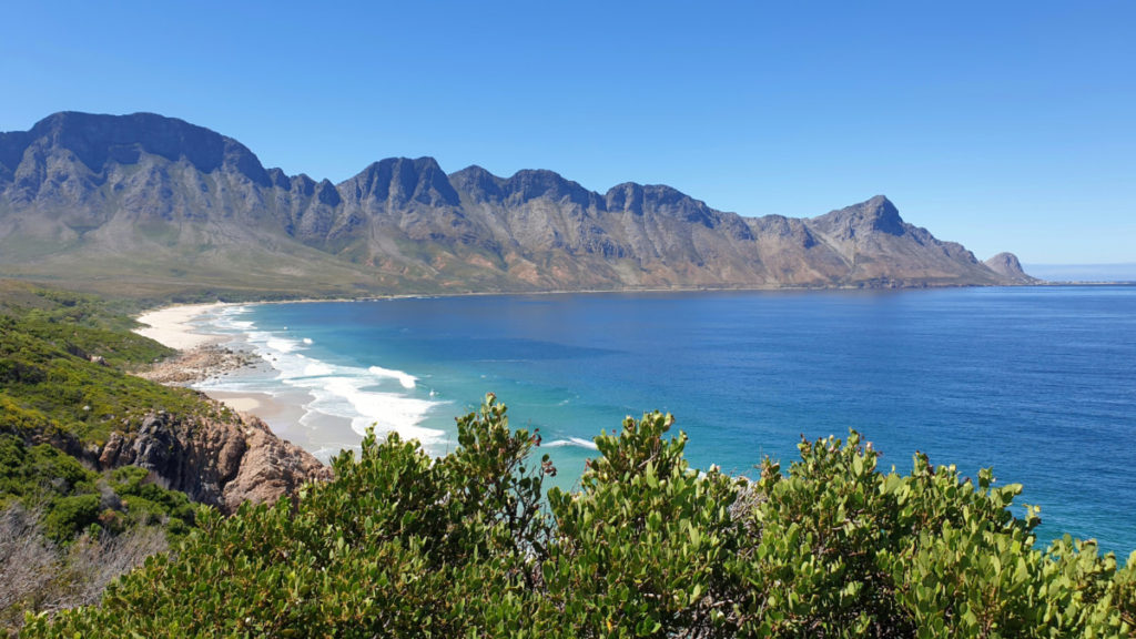 View of sea and mountains from Clarence Drive R44 in the Overberg